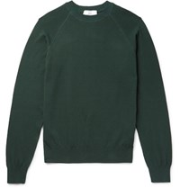 Ami Alexandre Mattiussi Waffle Knit Cotton Sweater Green