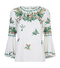 Andrew Gn Pastoral Embellished Flare Top Female White