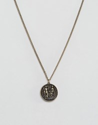 Asos Coin Necklace In Burnished Gold Gold