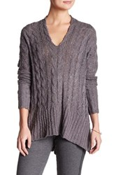 Leibl '38 V Neck Hi Lo Knit Slouchy Sweater Gray