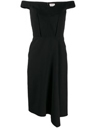 Alexander Mcqueen Off The Shoulder Midi Dress Black