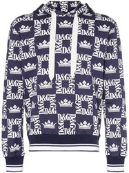 Dolce And Gabbana Crown Logo Print Hoodie Blue