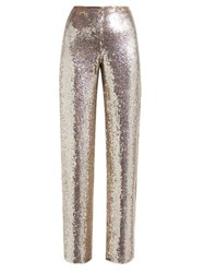 Ashish Sequin Wide Leg Trousers Burgundy