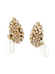 Chanel Vintage Barrock Pearl Drop Earrings Metallic