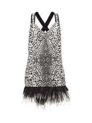 Proenza Schouler Feather Hem Leopard Jacquard Mini Dress Black White
