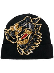 P.A.R.O.S.H. Sequin Embellished Knitted Hat Black