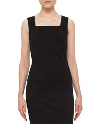 Akris Punto Square Neck Sleeveless Top Black