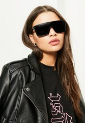 Missguided Black Flat Bar Sunglasses