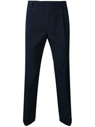 Raf Simons Pinstriped Slim Fit Trousers Blue