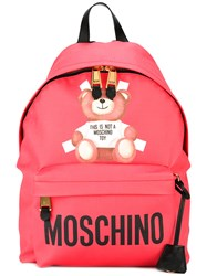 Moschino Toy Bear Print Backpack Pink Purple