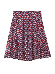 White Stuff Enola Jersey Print Skirt Blue And Red Blue And Red