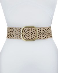 Neiman Marcus Wide Laser Cut Faux Suede Belt Bone