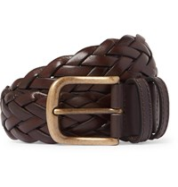 Anderson And Sheppard 3.5Cm Dark Brown Woven Leather Belt Brown