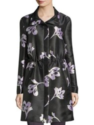 St. John Falling Floral Print Cashmere And Silk Coat Anthracite Multi
