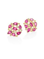 Temple St. Clair Pear Cluster Diamond Ruby Sapphire And 18K Yellow Gold Stud Earrings