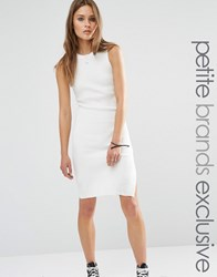 Noisy May Petite Knitted Mini Dress With Keyhole Back Detail White