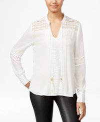 Xoxo Juniors' Pintucked Lace Inset Blouse Ivory