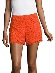 Sandro Plano Floral Lace Shorts Blazing Orange