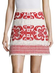 Alexis Anzel Embroidered Mini Skirt Red Embroidery