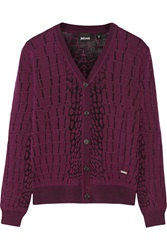Just Cavalli Jacquard Knit Wool Blend Cardigan Purple