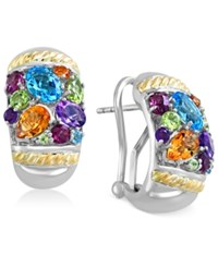 Effy Collection Effy Multi Stone Earrings 4 7 8 Ct. T.W. In 18K Gold And Sterling Silver