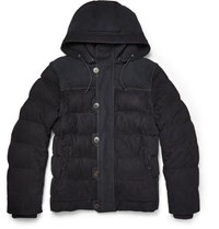 Berluti Quilted Nubuck And Suede Jacket With Detachable Hood And Sleeves Navy