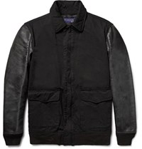 Junya Watanabe Twill And Faux Washed Leather Jacket Black