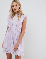 Urban Bliss Broderie Dress In Lilac Purple