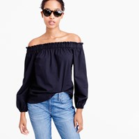 J.Crew Long Sleeve Off The Shoulder Top In Cotton Poplin