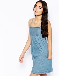Esprit Chambray Shirred Bust Dress Lightbleach