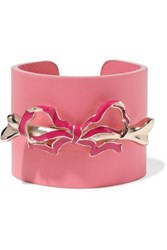 Red Valentino Bow Embellished Leather Cuff Pink