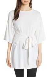Ted Baker London Olympy Tie Front Knit Tunic Ivory