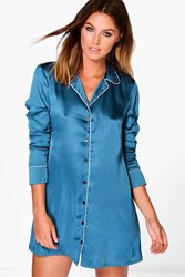 Boohoo Satin Contrast Piping Night Shirt Peacock