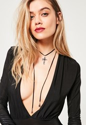 Missguided Black Cross Wrap Around Choker Necklace Silver