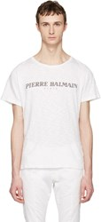 Balmain Pierre Off White Logo T Shirt