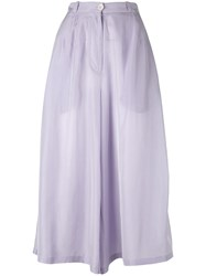Marios Super Wide Cropped Trousers Women Cupro M Pink Purple