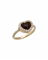 Christian Dior Estate 18K Fire Opal And Diamond Heart Ring Size 6.25