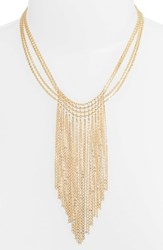 Halogen Waterfall Mesh Necklace Gold