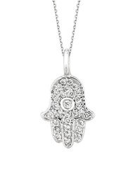 Morris And David Diamond 14K White Gold Hamsa Necklace