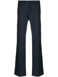 Armani Jeans Straight Tailored Trousers Polyester Spandex Elastane Viscose Blue