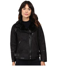 Michael Michael Kors Faux Shearling M52731t Black Women's Coat