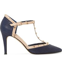 Dune Cliopatra Studded Leather T Bar Courts Navy Reptile