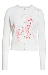 Ted Baker London Blossom Woven Front Cardigan Mint