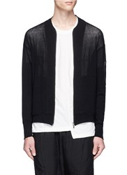 The Viridi Anne Cotton Linen Knit Bomber Jacket Black