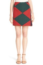 Tory Burch 'Cheval' Leather Trim Wrap Skirt White Carnavalet
