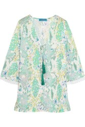 Matthew Williamson Printed Silk Crepe Top Mint