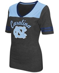 Colosseum Women's North Carolina Tar Heels Twist V Neck T Shirt Charcoal Navy