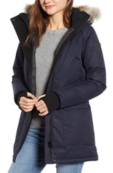 Nobis Carla Hooded Down Parka With Genuine Coyote Fur Trim Navy