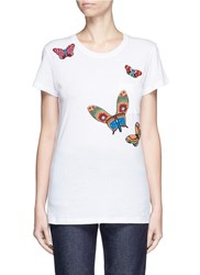 Valentino Beaded Butterfly Embroidery T Shirt Multi Colour