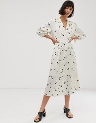 Selected Femme Floral Midi Dress Beige